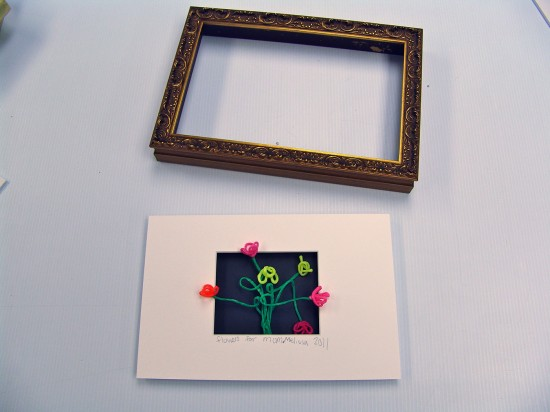 Kids craft project before it goes into a shadowbox frame