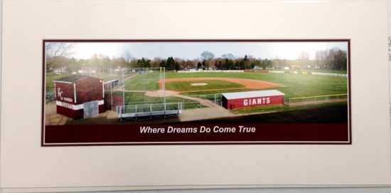 The beginning if a framed piece for Derek Jeter of his old high school baseball field.